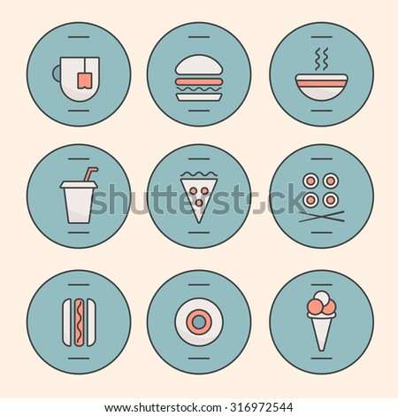 Set of Fast Food Icons performed in the last illustration trends. Hot dog, hamburger, tea, hot soup, cola, pizza, rolls, hotdog, donut, ice cream symbolic icons. Fully editable vector illustration. - stock vector