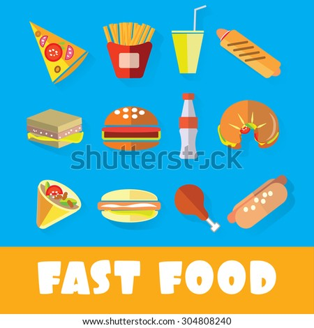 Set of fast food in the style of flat art vector illustration - stock vector