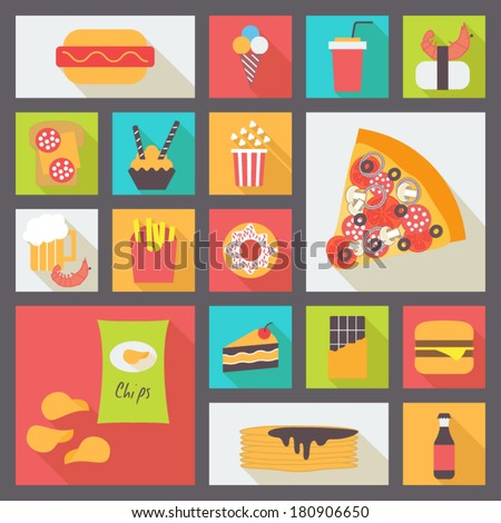 Set of fast food items for restaurant and menu. Flat design vector icons. - stock vector