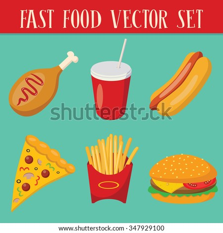 Set of 6 fast food objects: pizza, hamburger, hot dog, cola, french fries, fried chicken leg