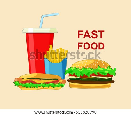 Set of fast food products. vector cartoon illustration.