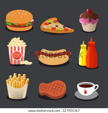 Set of fast food. Vector illustration, eps10.