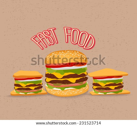 set of fast food with hamburger