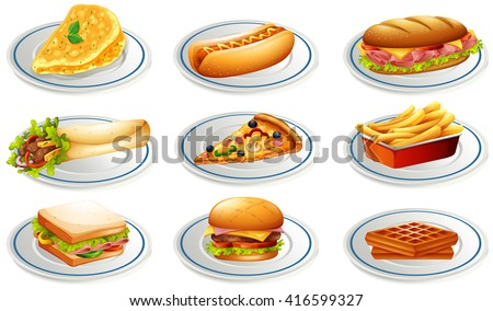 Set of fastfood on plates illustration