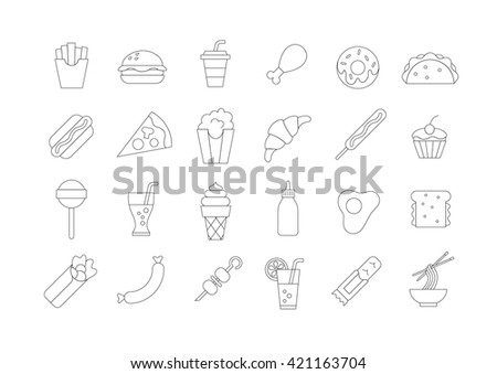 Set of 24 fastfood vector icons