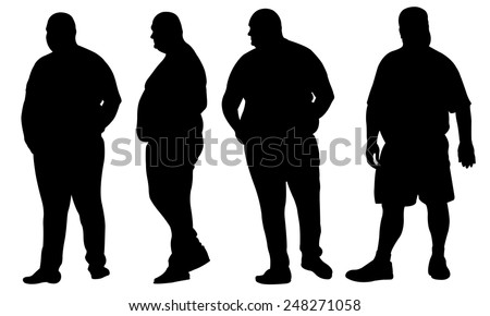 set of fat men isolated on white - stock vector