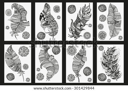 Set of feathers and mandalas on a white background. Vintage, tribal, artistically drawn, zentangle, stylized feather. Sketch by trace. Pattern for coloring book. - stock vector