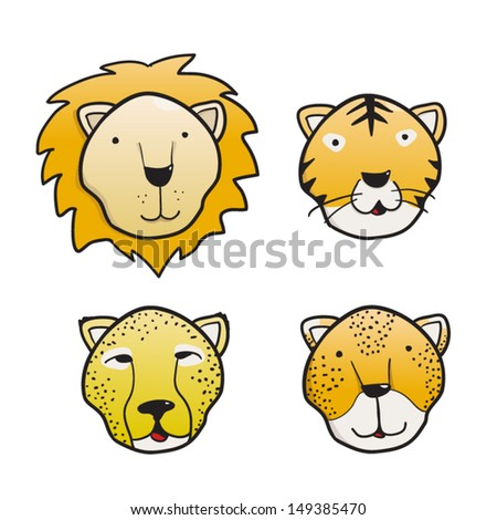 Set of feline cute faces a lion, a tiger a cheetah and a leopard - stock vector