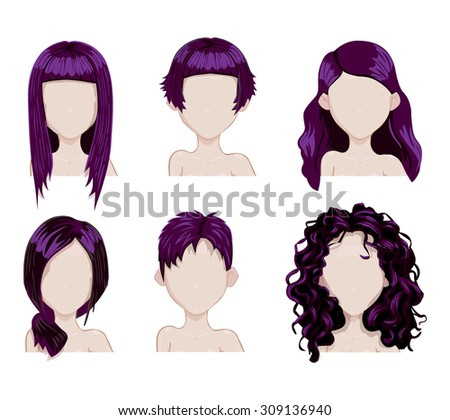 Set of female hair style. Vector collection.Fashion hairstyles  - stock vector