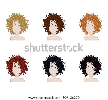 Set of female hair style. Vector collection.Trendy hairstyles