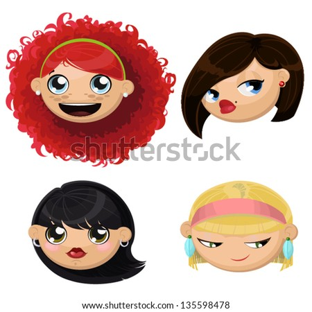 Set of 4 female heads. Curly haired redheaded laughing girl. Sly blonde. Sexy brunette with bob. Naive cute brunette. - stock vector
