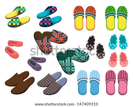Set of female, male and children's slippers - stock vector