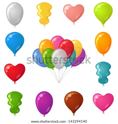 Set of festive balloons of various beautiful colors and shapes, isolated, eps10, contains transparencies. Vector