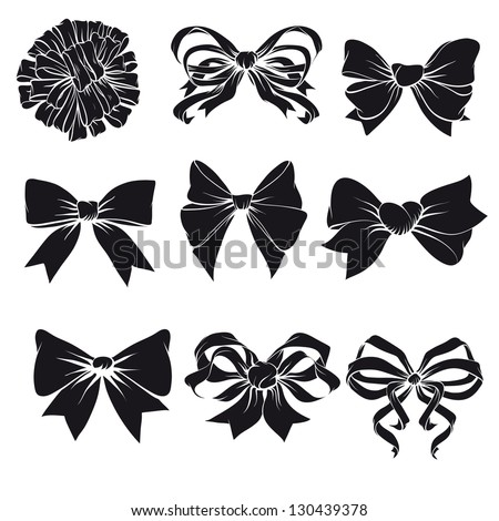 Set of festive bows - stock vector