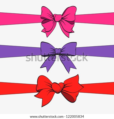 Set of festive bows and ribbons