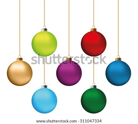 Set of festive Christmas decorations for the Christmas tree. Isolated objects, vector, illustration - stock vector