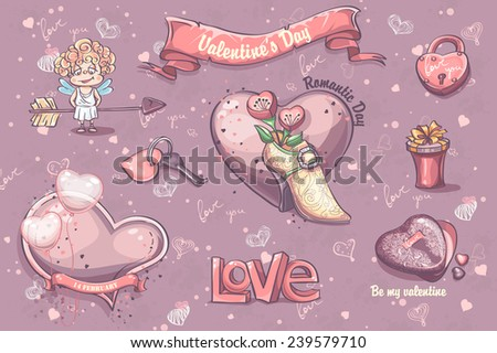 Set of festive elements and illustrations for Valentine's Day - stock vector