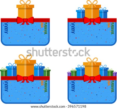 Set of festive label with gift box. Eps 10 - stock vector