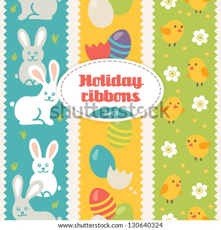Set of festive ribbons with easter elements - stock vector