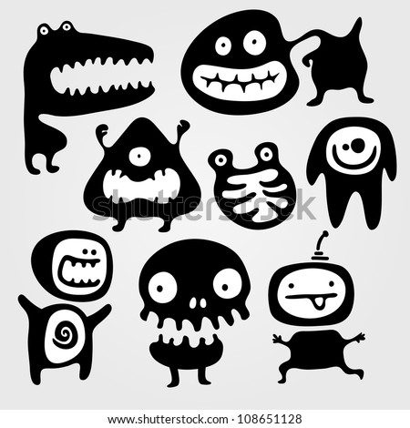 Set of few monsters silhouettes with different emotions - stock vector