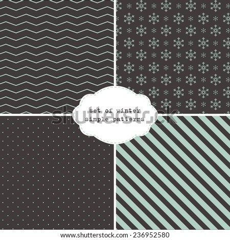 set of few simple winter patterns on dark background  - stock vector