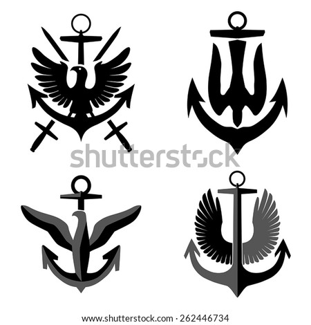Set of fictional army marines crests, vector - stock vector
