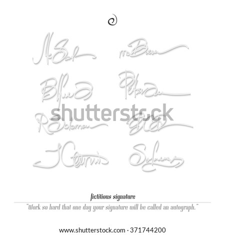 set of fictitious signatures isolated on white background. vector personal autograph collection. document subscribing concept, business accord sign - stock vector