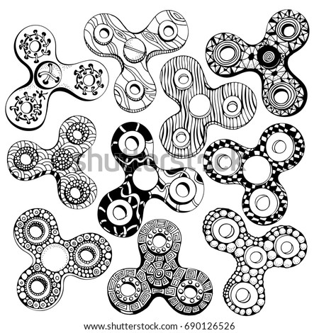 coloring pages for fidget spinners | Set Fidget Spinners Isolated On White Stock Vector ...
