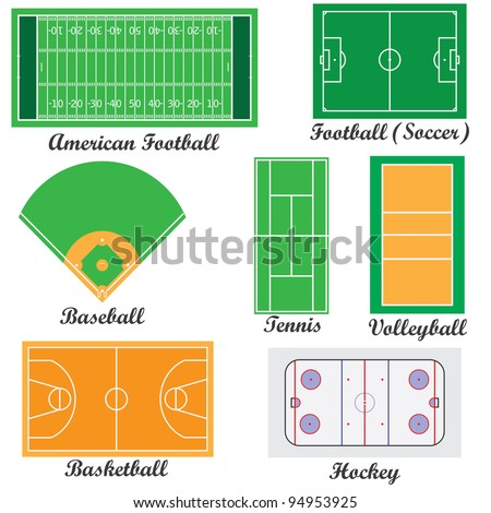 Set of fields for sport games on the white background. - stock vector