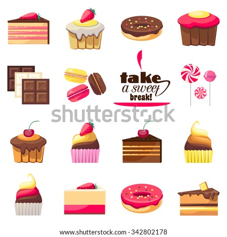 Set of fifteen delicious desserts. Yummy cupcakes, caramel lollipops, donuts, muffins and all kinds of chocolate. Can be used for a dessert menu. Sweets with fruit. Assorted confectionery. Vector - stock vector