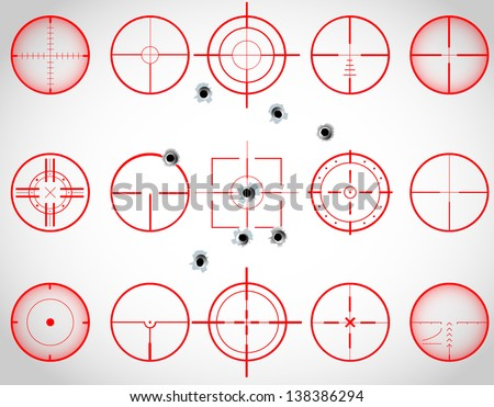 Set of fifteen red cross hairs, with bullet holes, vector - stock vector