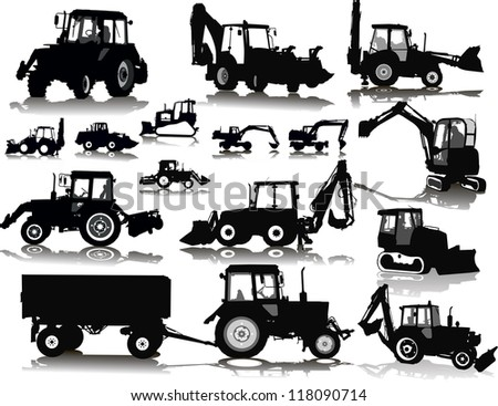 Set of 15 (fifteen) silhouettes of a tractors of road service - stock vector