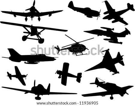 Military Aircraft Silhouettes Collection Vector 579198526 on helicopter pilot in the air force