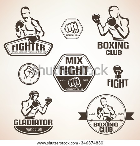 Set of fighting club emblems, MMA, boxing labels and bages - stock vector