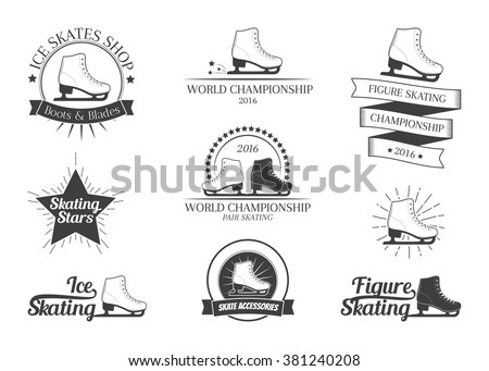 Set of figure skating logos, labels, emblems and design elements. Vector illustration - stock vector
