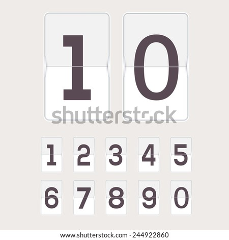 Set of figures on a mechanical scoreboard. Vector. - stock vector