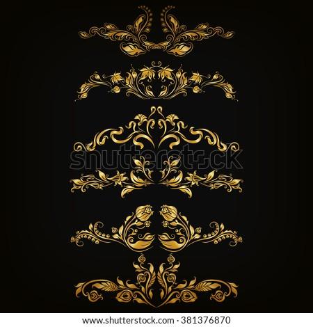 Set of filigree damask ornaments. Floral golden elements, borders, dividers, frames for page, web design. Page, certificate decoration in vintage style on black background. Vector illustration EPS 10. - stock vector