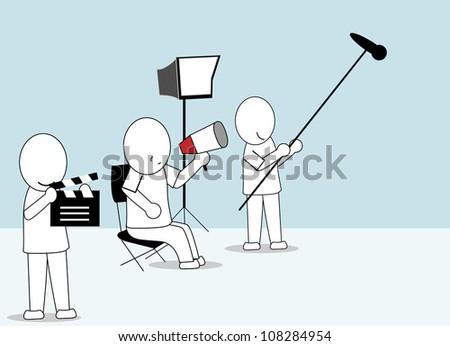 set of film director - stock vector