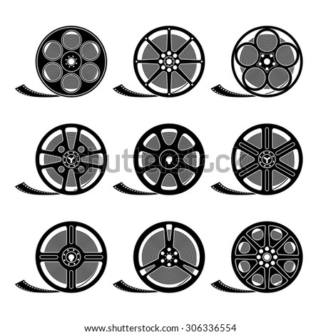 Set of film reels isolated on white, black silhouettes, EPS 8 - stock vector