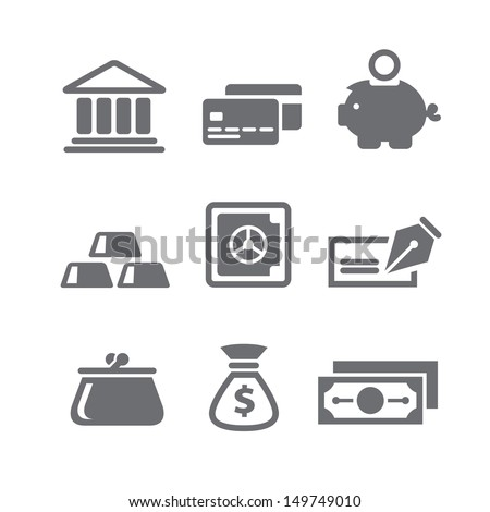 Set of finance and money icons in vector - stock vector