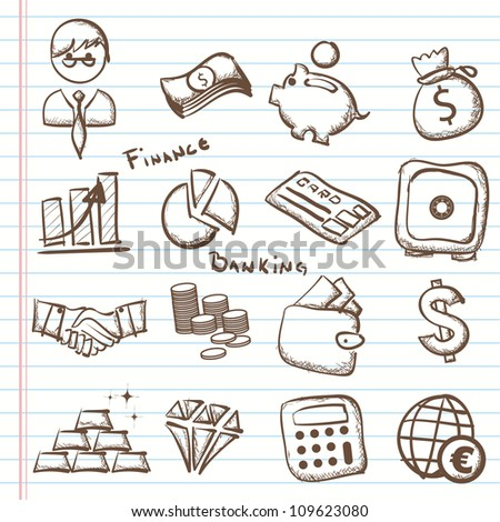 Set of finance & banking icons-Doodles