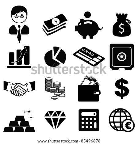 Set of finance & banking icons -Silhouettes - stock vector