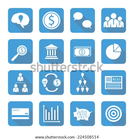 set of  financial icon with shadow, flat style - stock vector