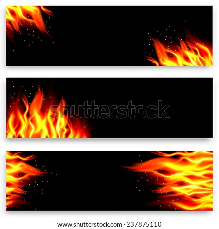 Set of fire banners. Vector illustration