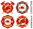 Set of fire department emblems and badges - stock vector