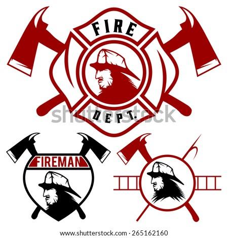 set fire department emblems badges stock vector 265162160