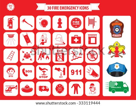 Set of fire emergency icons (fire exit, emergency exit, fire assembly point, ladder, axe, fire extinguisher, hose reel, alarm, eye wash, fire exit, 911, hydrant, first aid, ambulance, badge) - stock vector