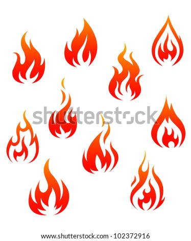 Set of fire flames isolated on white background as warning symbols. Jpeg version also available in gallery