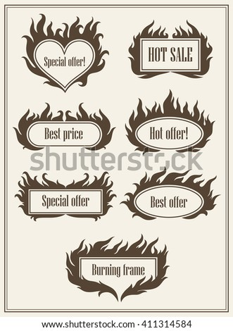 Set of fire hot sale logos and best offer signs vector illustration. Fire logo. Hot deal. Fire icon. Hot sale icons. Burning fire labels. Hot deal icons set. Sale label. Hot price banners set - stock vector