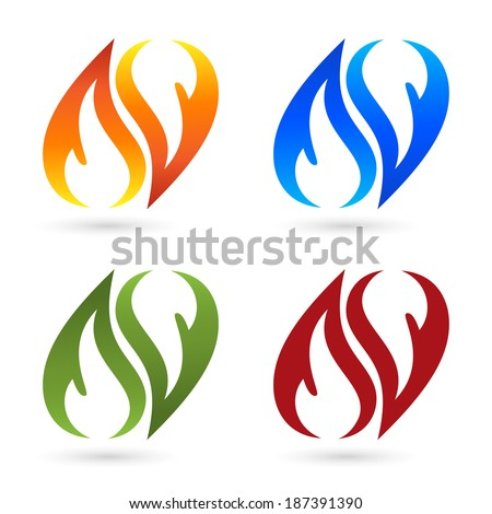 Set of fire icons - stock vector